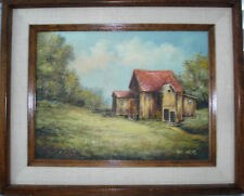 Viki Parez Owens Original oil canvas Countryside Shack with Outhouse Framed