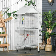 PawHut Metal Bird Cage Feeder for Small and Medium Sized Birds White