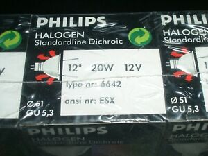 5 -20w 12v MR16 Philips Halogen Dichroic Reflector Lamp 6642 12 degrees 51mm dia