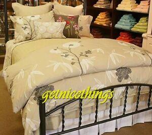 Yves Delorme 2 Euro Shams Vice Versa Floral White Pierre Tan Egyptian Cotton NEW