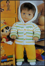 Knitting Pattern Copy DOLLS CLOTHES PREM BABY HOODED JACKET OUTFIT Tiny Tears