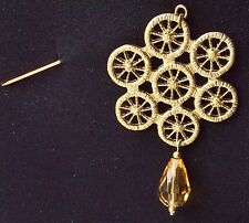 Golden Filigree Design With Brown Drop On Stick Pin Brooch Fashion Pin Scarf