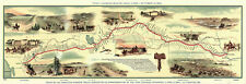 "16""x47"" LARGE Map Pony Express Route Railroad Postal Memorabilia Reprint 1860"