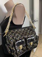 BRAND NEW QUILTED PATENT LEATHER-LIKE BLACK GOLD PURSE HANDBAG BAG SHOULDER BAG
