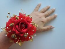 Red Rose, Pearl & Diamante Wrist Corsage Prom Wedding Flowers Bride Maid Mother