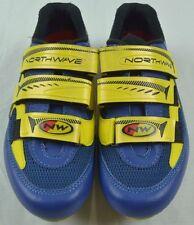 Northwave Road Bike Cycling Shoes 2 Bolt 3 Strap Men's U.S. 6.5 Yellow Blue