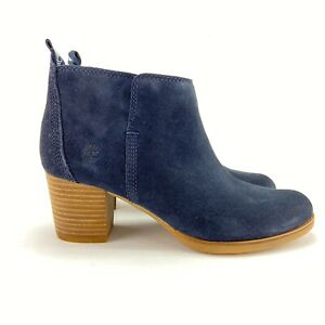 Timberland Women's Eleonor Street Dark Blue Suede Ankle Boots Size 8.5 M