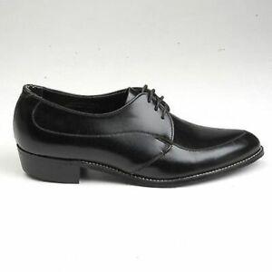 Mens Vintage 1960s 60s Black Leather Derby Lace Officers Shoes NOS Deadstock