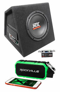 "MTX RTP8A 8"" 120w RMS Powered Subwoofer In Vented Sub Box+Bluetooth Speaker"