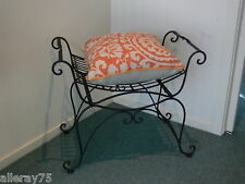 FRENCH CHAIR stool ottoman  BLACK WROUGHT IRON  BEAUTIFUL QUALITY NEW