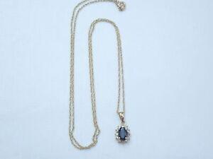 """Beautiful!! 375 Yellow Gold Oval Sapphire & Diamond Pendant 18"""" chain -1.5gms..."""