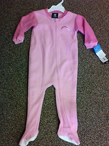 New NFL San Diego Chargers kids footed pajamas 12m-24m NWT Girls Two-Tone Pink