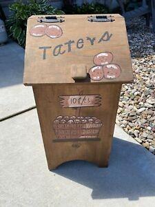 Vintage Taters Wooden Storage Bin Box Container Potato Farmhouse Country Planter