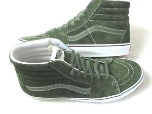 Vans Men's Sk8-Hi Pig Suede Water Resist shoes Olive Green True White Size 11.5