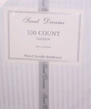 SINGLE BED FITTED SHEET WHITE LUXURY 100% COTTON 330 THREAD COUNT STRIPE SATEEN