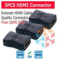 3X HDMI Female to Female Coupler Connector Extender Adapter Cable HDTV 1080P 4K