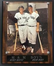 """M & M boys Mickey Mantle  Roger Maris Plaque 10 1/2"""" x 13"""" mounted on solid wood"""