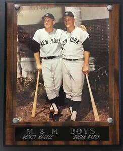 "M & M boys Mickey Mantle  Roger Maris Plaque 10 1/2"" x 13"" mounted on solid wood"