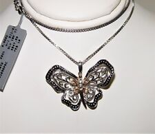 "Le Vian Silver & 18K 0.06CT Diamond Butterfly Necklace 18"" $847 GRAND SAMPLE"