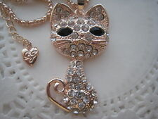 BETSEY JOHNSON FASHION CUTE CRYSTAL CAT PENDANT NECKLACE  26  # 454