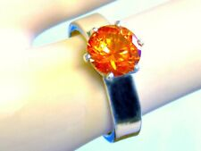 2.50CT ORANGE SAPPHIRE RING SIZE 9 925 STERLING SILVER PADPARADSCHA USA MADE