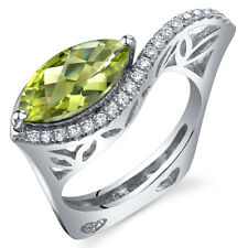 Filigree Style 2.00 cts Marquise Cut Peridot Ring Sterling Silver