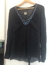 Ladies Antik Batik Navy Chiffon Kaftan Top Sequins Size M VGC