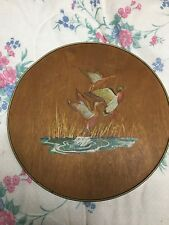 VINTAGE TIN W/ WOODEN LID IMAGE OF DUCKS IN FLIGHT SMITH CRAFTED CHICAGO