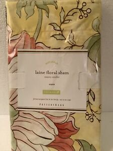 1 Pottery Barn Yellow Organic Cotton Laine Floral Euro Sham  One New Old Stock
