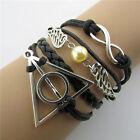Harry Potter Armband Heiligtümer des Todes Golden Snitch Schwarz