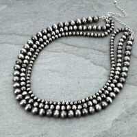 "South Western Navajo Style Faux Pearl Pewter Bead Three Strand 18"" Necklace"