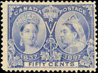 1897 Mint NG Canada F Scott #60 50c Diamond Jubilee Stamp