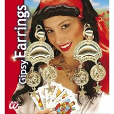 Gipsy Earrings Pair Jewellery for Circus Fortune Teller Fancy Dress Accessory