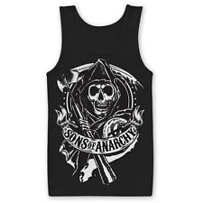 Sons of anarchy Scroll Reaper Redwood Official SAMCRO Black Mens Vest