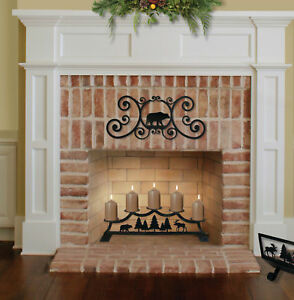 """28"""" Wrought Iron Fireplace Pillar 5 Candle Holder - Choice of 4 Patterns"""