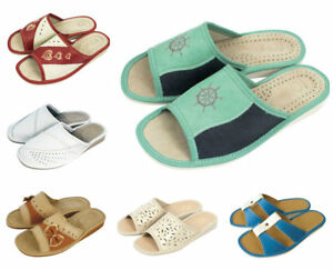 Women's ECO LEATHER Slippers House Shoe MANY SIZES & DESIGNS Thick sole