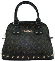 Giulia Pieralli Damentasche Handtasche Henkeltasche schwarz mit Nieten 25753