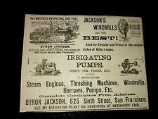 1886 Byron Jackson Farm Machinery Advertising - San Francisco - California