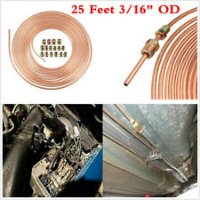 "3/16"" OD 25 FT Copper Nickel Car Brake Line Tubing Kit Fuel Pipe Hose w/Fittings"