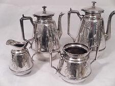Meriden Britia 1800 4 Piece Flower Engraved Silver Plated  Tea Set  (2 Teapots)