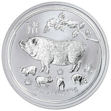 2019-P Australia Year of the Pig 1 oz Silver Lunar Srs 2 $1 Coin GEM BU SKU55204