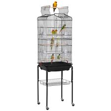 64'' Play Open Top Small Parrot Cockatiel Parakeet Bird Cage Rolling Stand