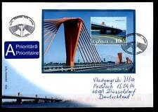 Rigaer Südbrücke. FDC-Brief nach BRD. Block. Lettland 2009