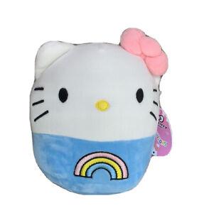 """Squishmallow 7"""" HELLO KITTY Kellytoy Rainbow Plush NWT Tag HTF Blue Sanrio 2021"""