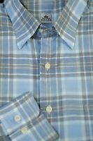 Peter Millar Men's Summer Blue White Black Check Cotton Casual Shirt M Medium