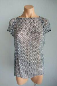 Hunkydory Stockholm Steel Blue & White Short Sleeve Wide Neck Sheer Top sz S
