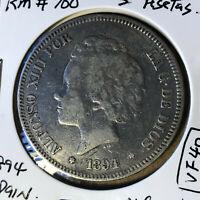 1894 Spain 5 Pesetas, Alfonso XIII Silver Coin VF Condition