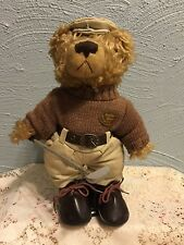"Golfer Bear Tan Sweater Brown Shoes Golf Club Stand Plush 10"" Lovey Toy"
