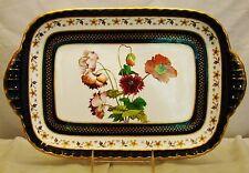 Antique Minton Cobalt Blue & Gold Hand Painted Botanical Serving Dish Tray 1885