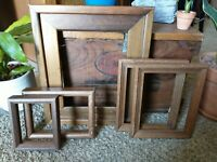 Vintage 5 Wood PICTURE FRAME Lot Recycle Arts Crafts Project Deco geo wide box